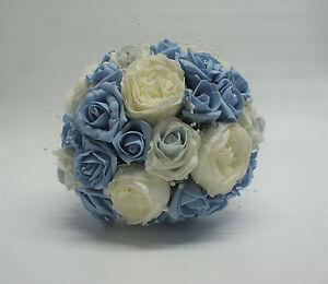 Bouquet Sposa Rosa E Bianco.Bouquet Da Sposa Matrimonio Con Luce Blu E Bianco Rose E Perle Ebay