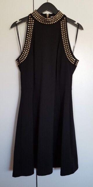 247711369d2 Michael Kors Women s High Neck Knit Dress Black With Gold Embellishment 10