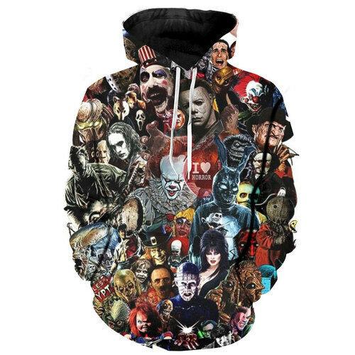 Women Men 3D Print Hoodies Pullover Sweatshirts Freddy Jason Murderers Movies