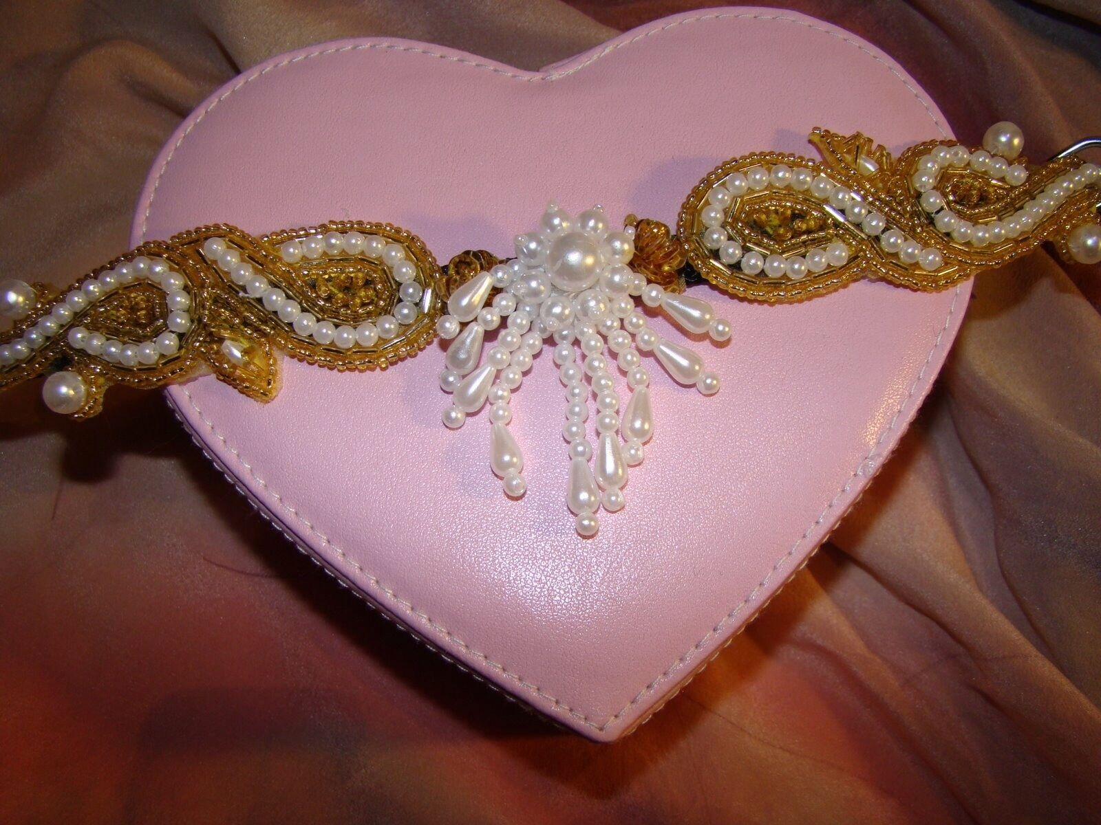 Rhinestone,fancy,pearls jeweled designer bling, 10  dog collar Sm.+hair bow