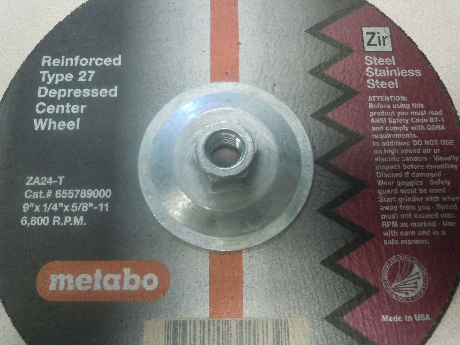 7x1//4x5//8-11 Metabo Grinding Wheel Reinforced Type 27 Depressed Center Wheel