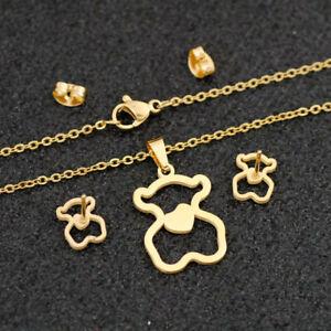 New Fashion Women Pendant Necklace Earrings Stud Bear Hollow Stainless Steel Set
