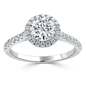 1.40 Ct Round Cut Real Moissanite Anniversary Ring 14K Solid White Gold Size 7