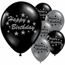 """10 Black Silver Happy Birthday Party 11"""" Pearlised Latex Printed Balloons"""