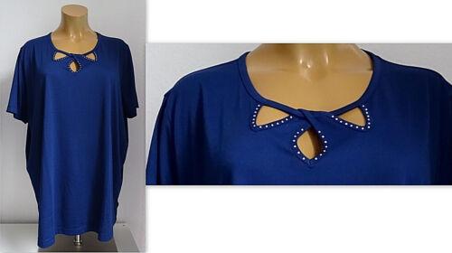 NEU Übergröße schickes Damen Kurzarm Shirt raffinierte Lochoptik d.blau Gr.60,62