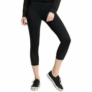 5cc272061cadcc 59$ DKNY Sport High-Waist Mesh-Inset Ankle Leggings,Color:Black ...