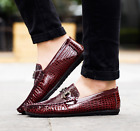 Mens Flat Loafers Crocodile Patent Leather Casual Slip On Shoes Driving Moccasin