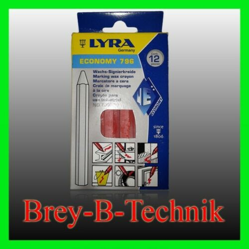 LYRA 12St rot Signierkreide Markierungskreide Wachskreide Ölkreide Fettkreide