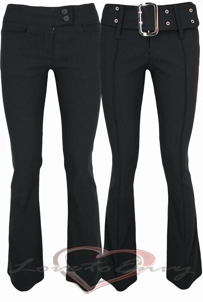 Bonne Qualité Noir Bootcut Stretch École Travail Pantalon Uk6-16 En 3 Jambe Lengths.