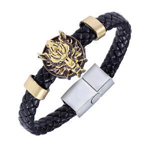 Chic-Final-Fantasy-VII-Cloudy-Wolf-Head-Leather-Bracelet-Punk-Wristband-New