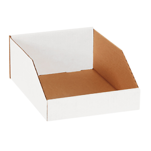 OPEN TOP BIN BOXES 50 or 100 pack White Corrugated Storage Parts Boxes