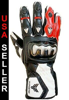 Size L Motorbike Motorcycle Gloves Bike Real Leather CE Armored Knuckle Pro