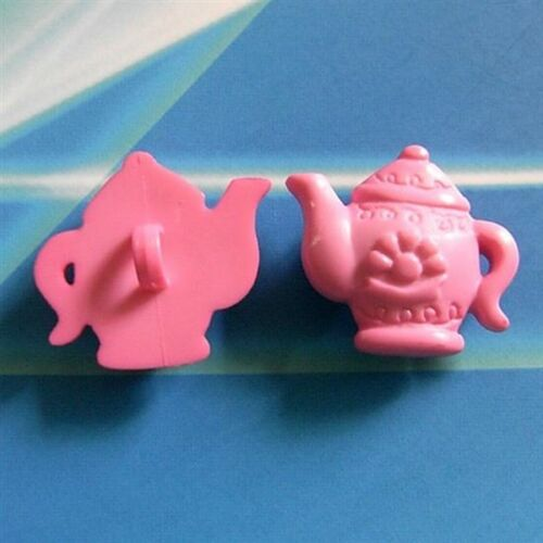 15 Teapot Tea Pot Novelty Kid Craft Sewing Buttons Scrapbooking PInk K520
