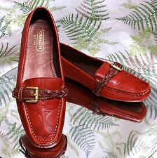 COACH RED LEATHER MONK STRAP LOAFERS SLIP ONS FASHION DRESS SHOES WOMENS SZ 6 M