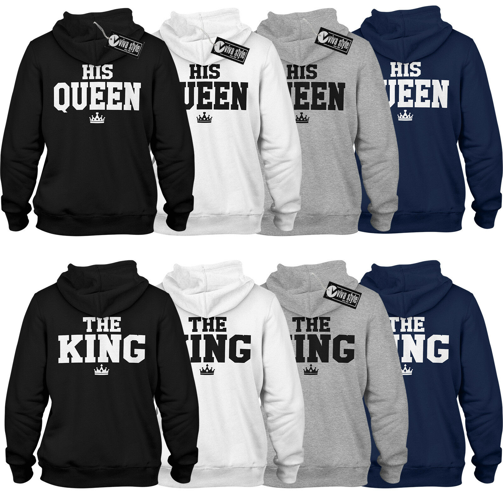 The King His Queen Classic Pulli Hoodie Geschenk für Paare im SET Love Partner
