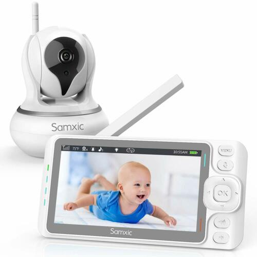 Samxic Video Baby Monitor with 720P Camera 5 Inches Display Crying /& Temperatu