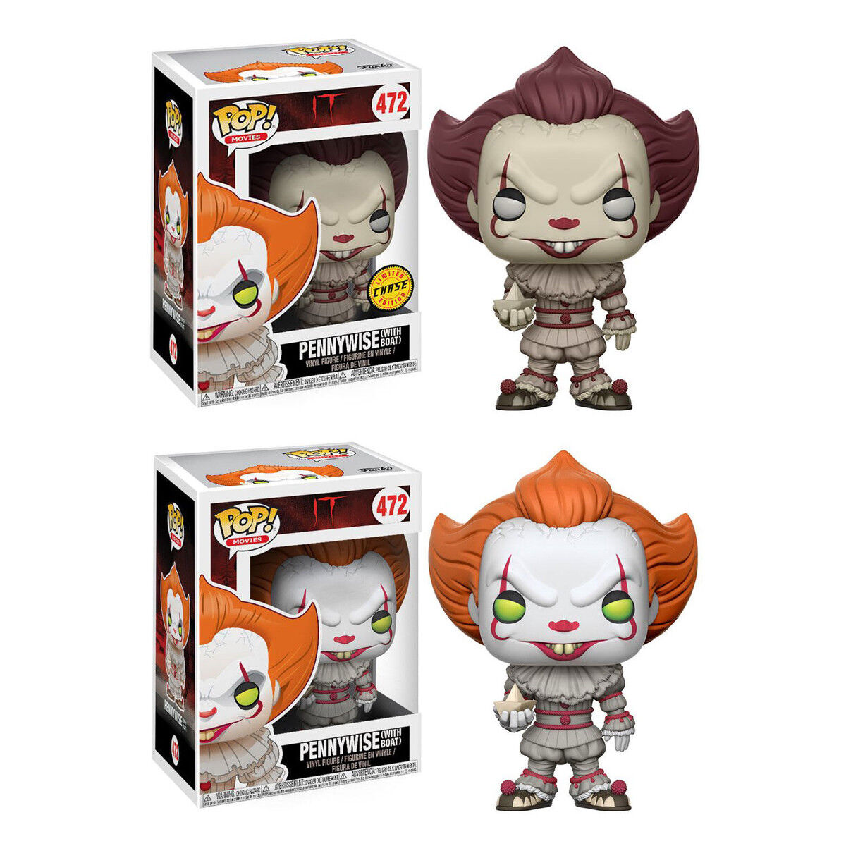 POP  IT Pennywise With Boat Gelb EYES    472 Regular OR Chase Funko Official New 858427