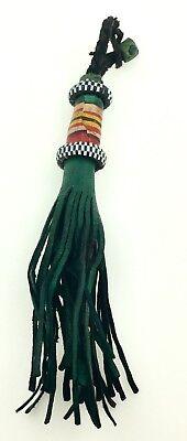 Leather Tuareg TASSEL Ethnic Tribal Ornament African Fob Bag Purse Dangle Green