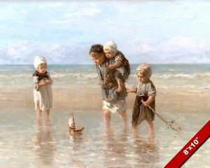 YOUNG KIDS PLAYING AT THE BEACH WITH A TOY BOAT PAINTING ART REAL CANVAS PRINT
