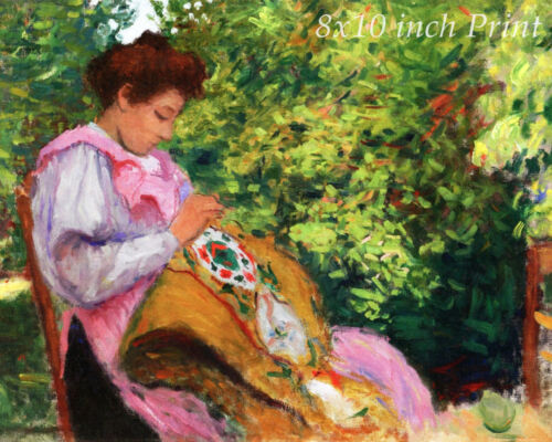 Girl Embroidering in the Garden by Albert Marquet Sew 8x10 Print Picture 1792