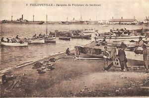 Algeria-Postcard-Philippeville-Boats-of-Sardine-Fishermen-pecheurs-DG7