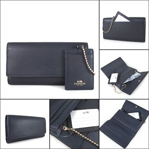 pretty nice a9a5c 119e3 Details about Coach F53708 Pebbled Leather Trifold Wallet with ID Pouch  Midnight NWT $250