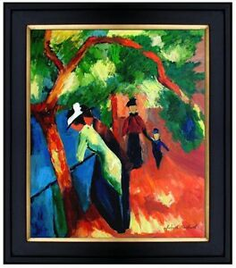 Framed-August-Macke-Sunny-Path-Repro-Quality-Hand-Painted-Oil-Painting-20x24in