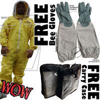 Yellow Full Beekeeping Bee Suit Animal Handling Pest Control Free Gloves & Case
