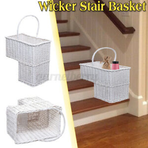 Wicker-Handwoven-Stair-Step-Storage-Basket-2-Compartments-Carry-Handle
