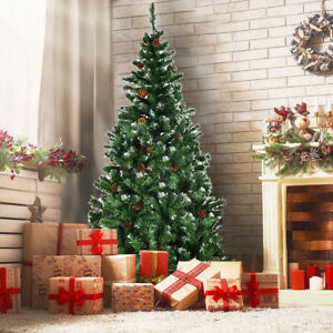 Artificial Christmas Tree Sizes.Details About 7ft Artificial Christmas Tree Cones Snow Covered Xmas Trees Large Size