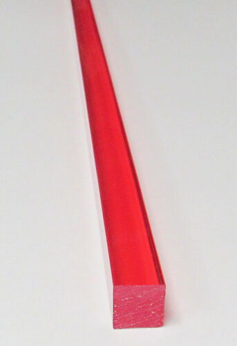 "1//2"" x 1//2/"" x 36"" INCH LONG SQUARE CLEAR RED ACRYLIC PLEXIGLASS TRANSLUCENT ROD"
