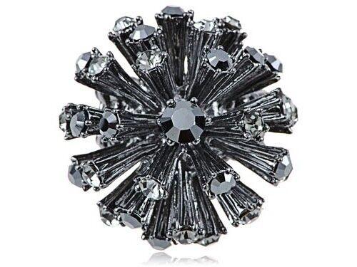 Gunmetal Super Disco Ball Spike Ball Adj Fashion Ring Stretch Jewelry Xmas Gift