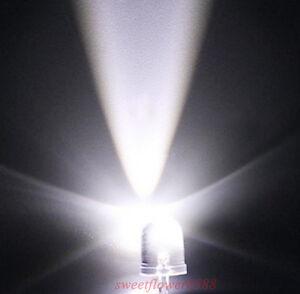 New-100x-10mm-25000mcd-LED-Lamp-Ultra-Bright-White-LED-Light-Bulb-Free-Shipping