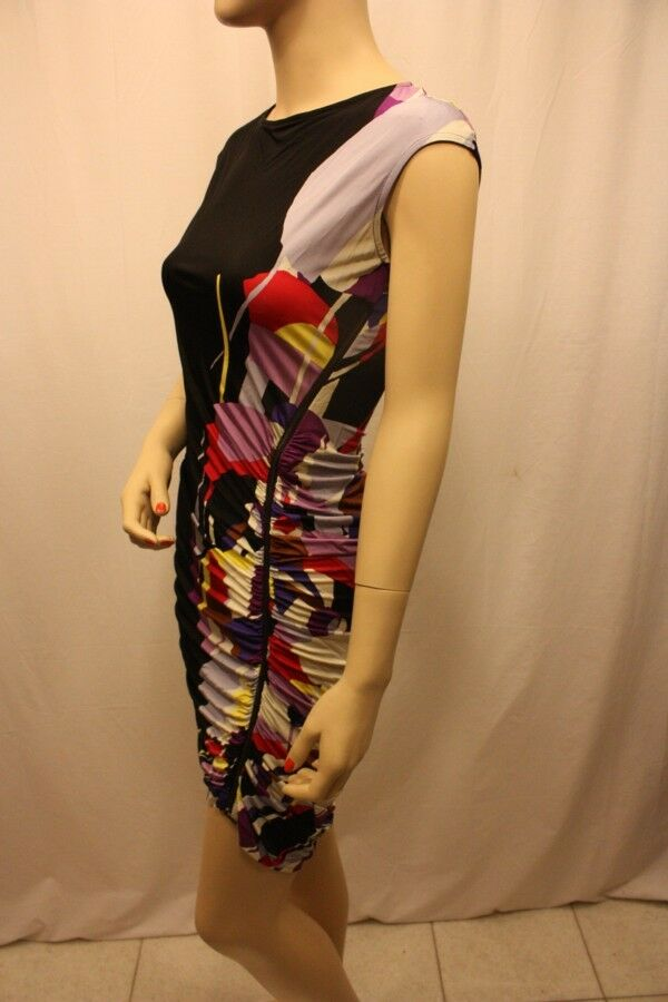 New BCBGMAXAZRIA MULTI COLOR SHIRRED SIDE ZIP SLEEVELESS DRESS SIZE XS