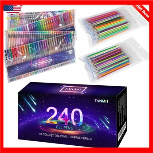 Doodling Tanmit 240 Gel Pens Set for Adult Coloring Books Drawing 120 Colored