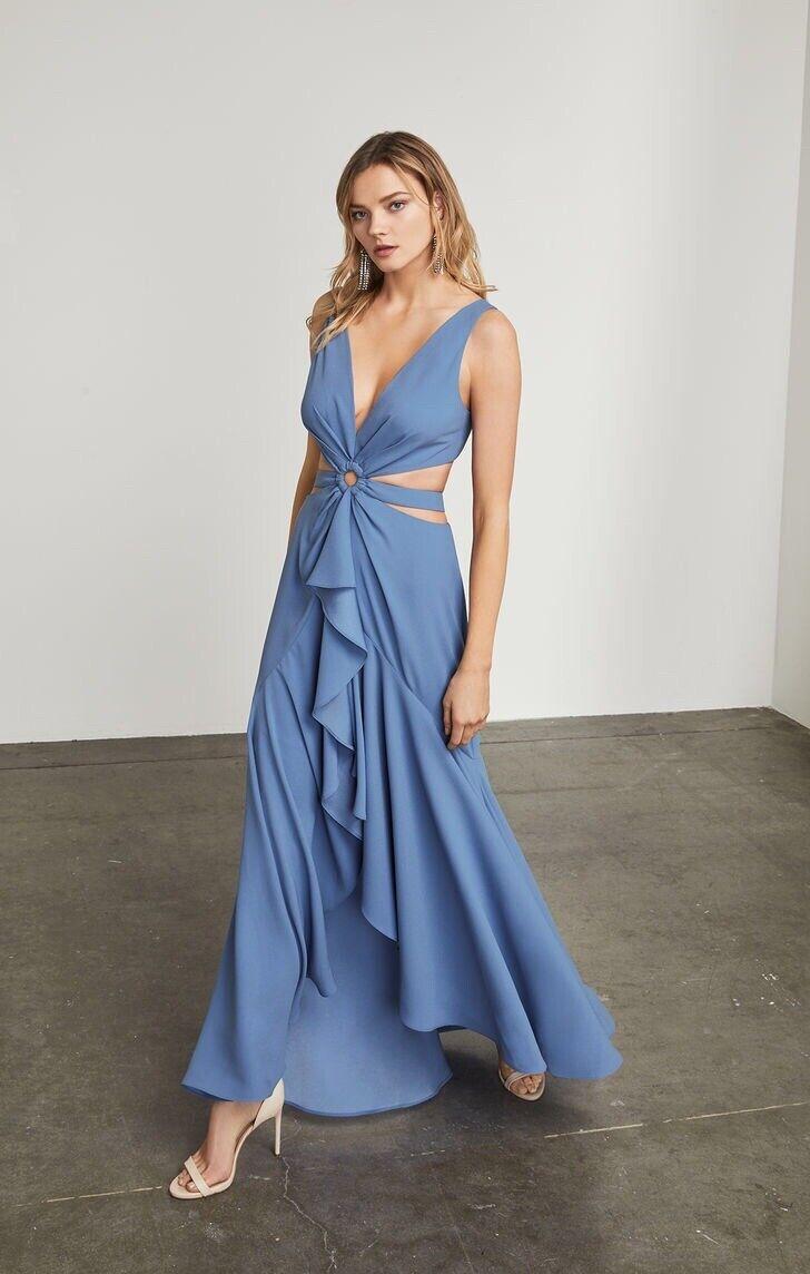 """BCBG Maxazria 10 """"Victoriya"""" Alto-Bajo Vestido Misty Azul  Largo Baile de graduación Vestido Nuevo  368  comprar mejor"""