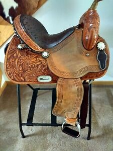 Tex Tan Imperial Barrel Racing Saddle 14.5 Nice pre-owned Ostrich Seat Fancy
