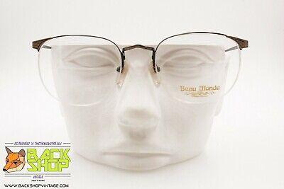 Beau Monde Mod. Beaufort Eyeglasses Frame Rimlles, Aged Color Chiseled , Nos 80s