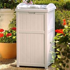 Trash Can Lid Garbage Patio 30 Gallon Waste Bin Outdoor Hideaway Container  Beige