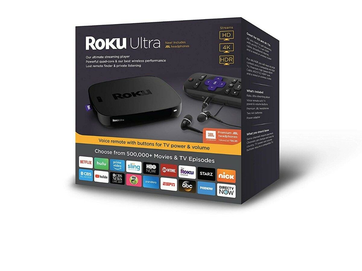 Roku 4661RW  Streaming Media Player Ultra 4K with JBL Headphones - Black Featured