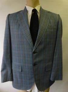 f6a8361f25cd VTG mens John Blair Blazer Sport Coat Jacket 40 R blue gray plaid ...