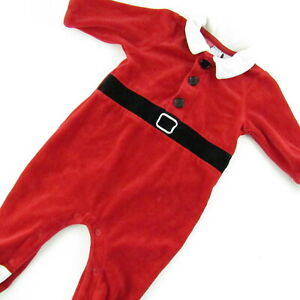 Baby-Boy-Santa-Claus-Suit-3-6-Months-One-Piece-Footed-Christmas-Holiday-Costume