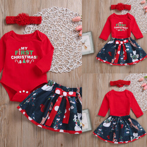 Newborn Baby Girl Christmas Letter Romper Tops Deer Skirt Clothes Outfit Set 9