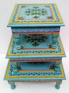 Wooden-Stool-Table-Wooden-Chowki-Bajot-Hand-Crafted-Hand-Painting-Art-Set-of-3