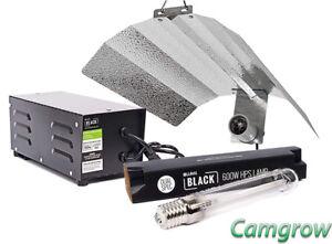 Hydroponics 600W Lumii Black Magnetic Kit Heavy Duty Timer Grow Light Kit HPS