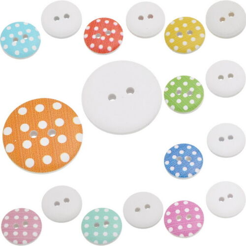 18 WOODEN WHITE PAINTED POLKA DOT 2 HOLE BUTTONS ~24.5mm~ Sewing~Knitting 94E