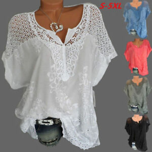 Womens-Ladies-Batwing-Short-Sleeve-Lace-Hollow-Baggy-Casual-T-Shirt-Tops-Blouse