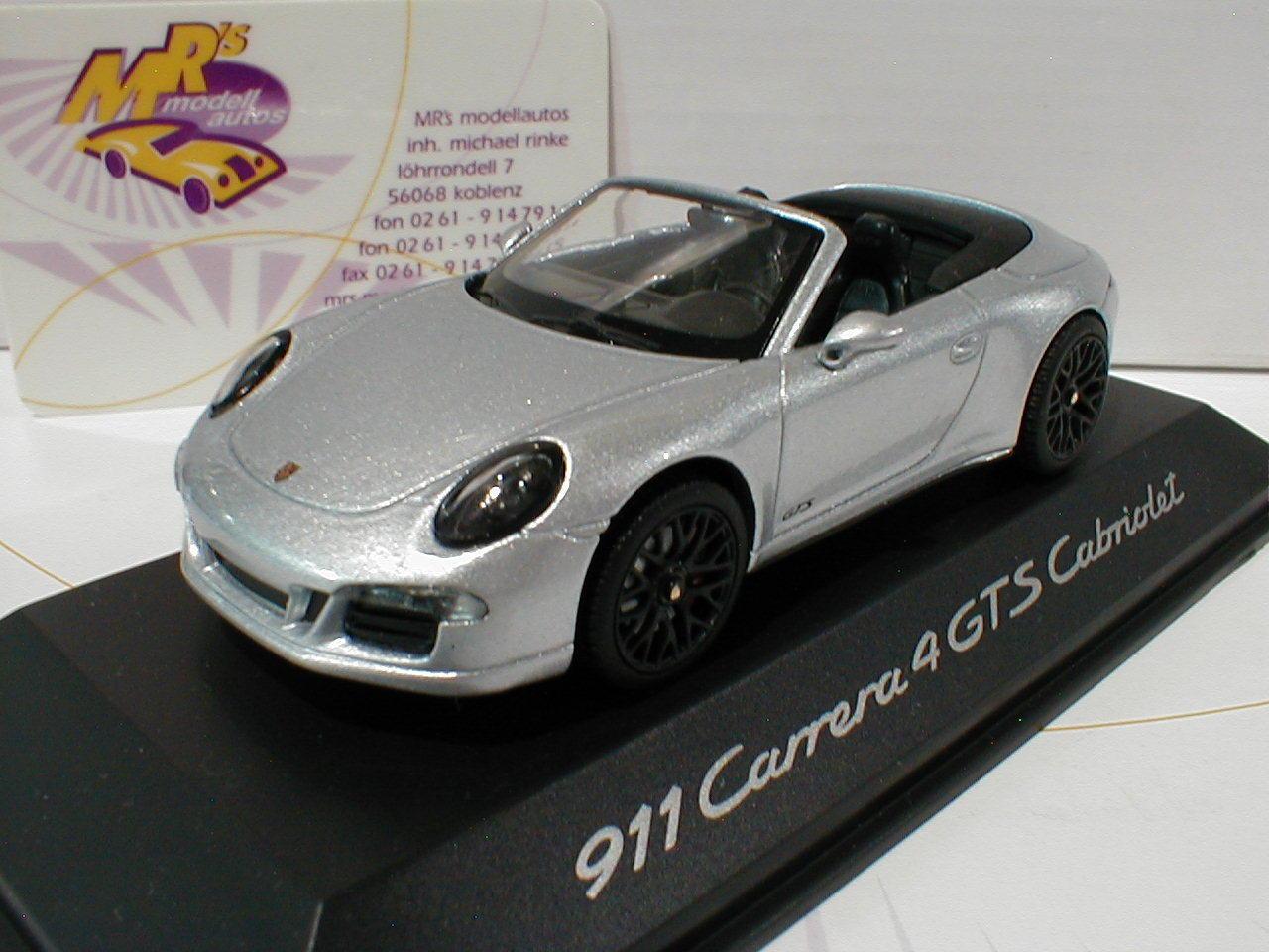 Schuco-porsche 911 Carrera 4 GTS Cabriol année modèle 2014  argent métallique  1 43