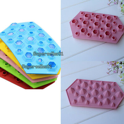 1pc Hot Silicone Diamond Ice Trays Cube Mold Chocolate Soap Mould Kitchen Tool
