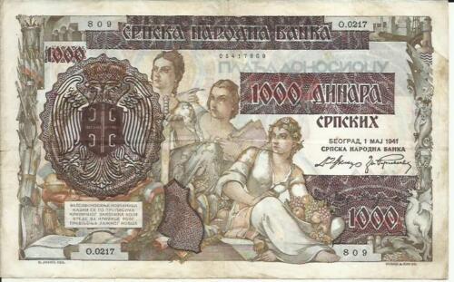 3RW 29 NOV SERBIA- YUGOSLAVIA  1000 DINARS 1941 NAZI OVERP VF CONDITION